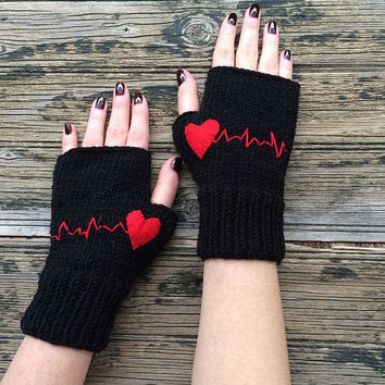 Heartbeat Gloves, Fingerless Gloves, Heart Wrist Warmers, Girlfriend Gift, Unique Women Gloves, Love Knit Mitts, Black Gloves, Black Friday