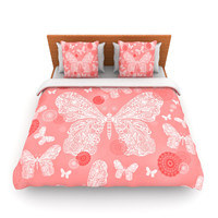 "Monika Strigel ""Butterfly Dreams Coral"" Pink White Fleece Duvet Cover"