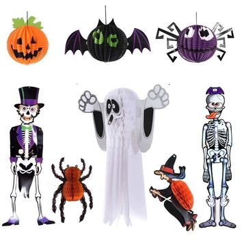 Halloween Paper Pendant Decoration Spider  Ghost With Pumpkin Bar Haunted House Halloween Layout Scene Props three-dimensional