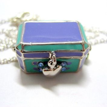 """SALE - Lilac Treasure Chest Locket Necklace // Lilac Enamel Chest Charm // Magnetic Clasp // 17"""" Silver Chain"""