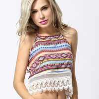 Tribal Print Halter Crop Top