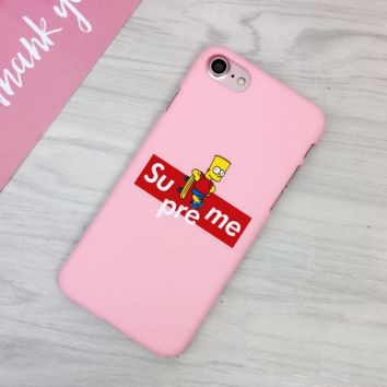 Pink Supreme Simpson Print Iphone 7 7plus &6 6s Plus Cover Case