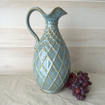 Handmade Ceramic Pitcher with Blue Turquoise and Gold Diamond Pattern