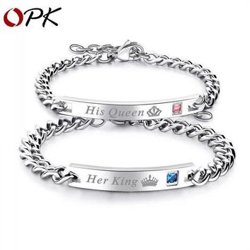 His Queen Her King Stainless Steel His and Hers Love Couple Bracelet Bangle Gift