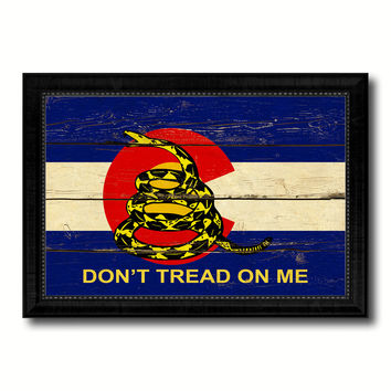 Gadsden Don't Tread On Me Colorado State Military Flag Vintage Canvas Print with Black Picture Frame Home Decor Wall Art Decoration Gift Ideas