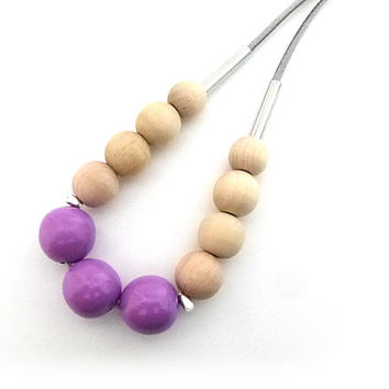 Purple wood beaded necklace, simple beaded necklace, statement necklace, neutral jewelry, natural wood necklace, extra long necklace