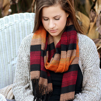 Boho Scarf- Christmas , Tribal Fringed Poncho Scarf - Aztec Shawl Scarf - knitted scarf - Burned orange, Fall color scarf