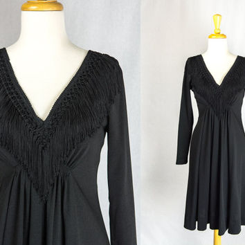 Vintage 70s Black Fringe Dress LBD Cocktail Party