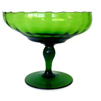 Mid Century Optic Glass Compote, Bright Green, Hand Blown Art Glass