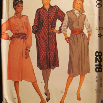 SALE Uncut 1980's McCall's Sewing Pattern, 8218! Size 12/Medium/Women's/Misses/Loose Fitting Dress/Sleeveless Jumper/Pullover Dress/Long Sle