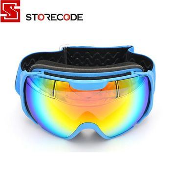 StoreCode Brand Ski Goggles Double UV400 Anti-Fog Ski Mask Glasses Women Men Skiing Snowboard Blue Frame Snow Goggles 656