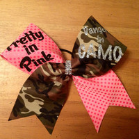 piety in pink dangerous in camo cheer bow , cheerbow , cheer , cheer leader, camp cheer bow,  pink cheer bow, bella bows ,cool cheer bows