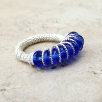 Cobalt Blue Ring:  Fancy Silver Wire Wrapped Ring, Peacock Blue Glass Ring, Size 7, Custom Size