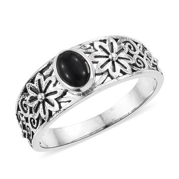 Black Spinel Sterling Silver Floral Solitaire Ring