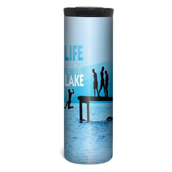 Lake Life Barista Tumbler Travel Mug - 17 Ounce, Spill Resistant, Stainless Steel & Vacuum Insulated