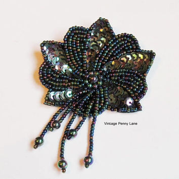 Vintage Handmade Brooch, Peacock Sequin, Glass Beaded, Black Leather
