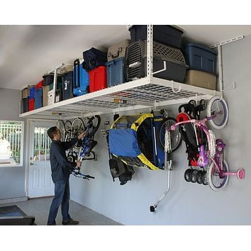 "SafeRacks Overhead Garage Storage Bike Rack Heavy Duty (18""-33"" Ceiling Drop)"