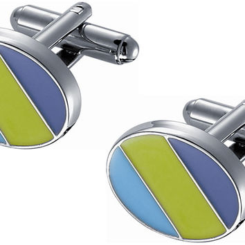 Purple -  Green and Blue Enamel Cufflinks In Rhodium Plated Frame