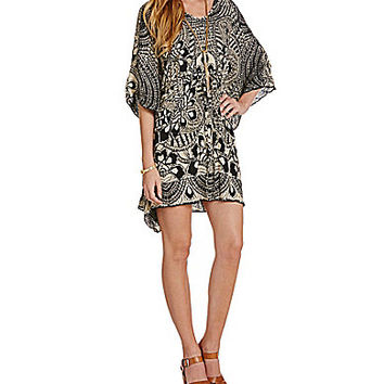 Angie Printed V-Neck Woven Caftan Dress - Black/Cream