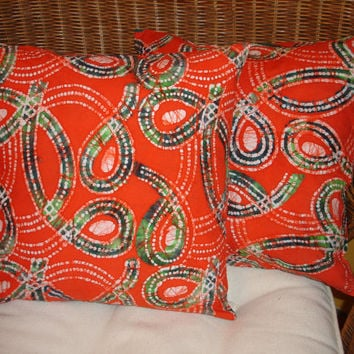 Orange Batik Pillow Cover Orange Pillow Cover by KaysGeneralStore