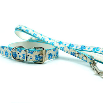 Flora Dog Collar and Leash Set (Blue)