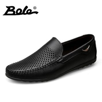 BOLE Summer New Punching Breathable Men Leather Shoes Fashion Walking Durable Metal Decoration Men Causal Shoes Men Shoes Flats
