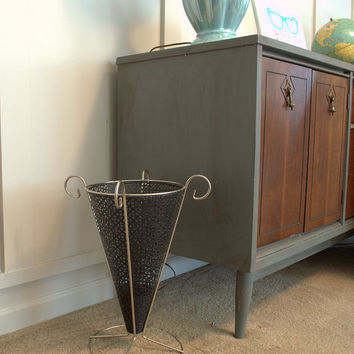 Mid Century Modern Wrought Iron and Chrome Umbrella Stand, Perforated Black Metal Umbrella Holder