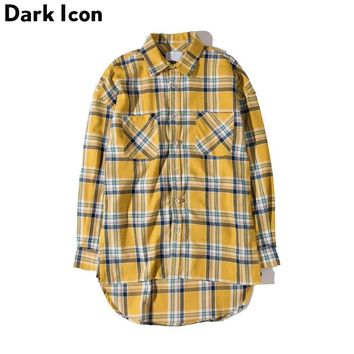 Flannel Plaid Shirt Men Hip-hop Shirt 2017Streetwear Oversized Curved Hem Hipster Men's Shirt Long Sleeve Justin Bieber Clothing
