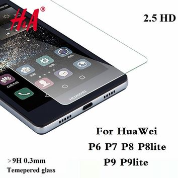 9H 0.3MM Premium Tempered Glass for Huawei Ascend P6 P7 P8 P9 Screen Protector protective film P8 P9 lite