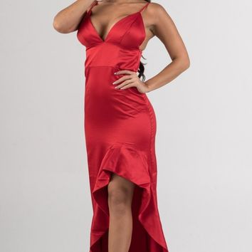 Red Satin Deep V Asymmetrical Ruffles Maxi Dress