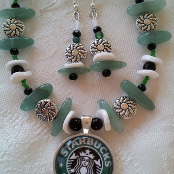 Starbucks Necklace, Starbucks Pendant Necklace Earrings, Green Silver Necklace, Starbucks Jewelry