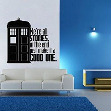 Dr. Who inspired Tardis Stories Good One Wall Decal Parody Sticker