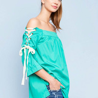 Lace Up Boat Neck Top