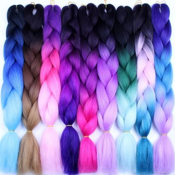 FALEMEI Three Tone Color Crochet Hair Extensions Kanekalon Hair Synthetic Crochet Braids Ombre Jumbo Braiding Hair Extensions