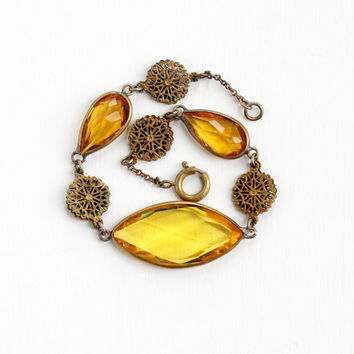 Antique Brass Simulated Citrine Filigree Statement Bracelet - Vintage 1920s Art Deco Yellow Orange Glass Stone Czech Costume Jewelry