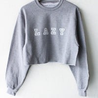 Lazy Oversized Cropped Sweater - Grey