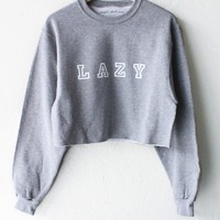 Lazy Oversized Cropped Sweatshirt - Grey