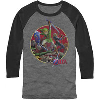 Zelda Men's  Sword Fight Baseball Jersey Black/Grey