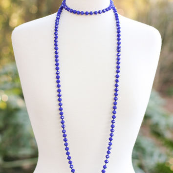 Falling For Blue Beaded Necklace