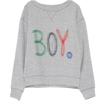 "Grey ""BOY."" Print Sweatshirt"