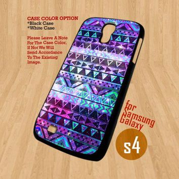 Aztex Pattern Purple Mint - For Samsung Galaxy S4 i9500 Case Cover