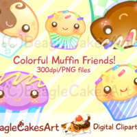 Muffins Clipart. Cupcake Clipart. Instant Download. Colorful Cupcakes. Digital Cupcakes. Cupcakes Download. Rainbow Cupcakes. Kawaii Clipart