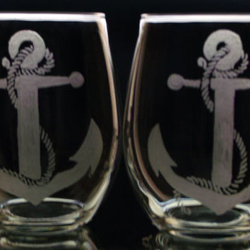 2 piece stemless wineglass set nautical anchor and rope engraved glass, host and hostess beach sailing