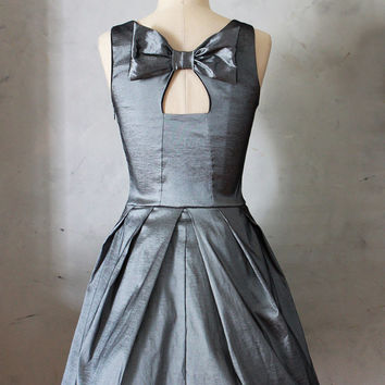 JUBILEE SLATE - Gray taffeta party dress with black tulle / back bow cutout // bridesmaid // vintage inspired / pleated skirt // pockets