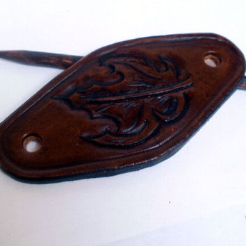 Leather hair barrette, size M, hair stick, hair slide, hair pin, antiqued brown, tooled maple leaf
