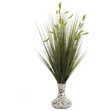 "Onion Grass with Cattail in Pearl Mosaic Vase (25x25x32""H)"