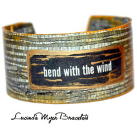 """bamboo theme cuff bracelet, """"bend with the wind"""" saying, brown, green, gold, unique"""