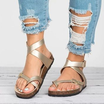 Women's Flat Sandals with Ankle Wrap
