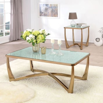 Acme Orlando Coffee Table, Champagne & Crackle Mirror