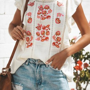 Love Garden Embroidered Cotton Top